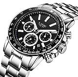 Relojes, relojes hombre, negocios de lujo multifunción resistente al agua con calendario reloj de cuarzo analógico Hombres reloj de pulsera de acero inoxidable hombre reloj de plata redondo