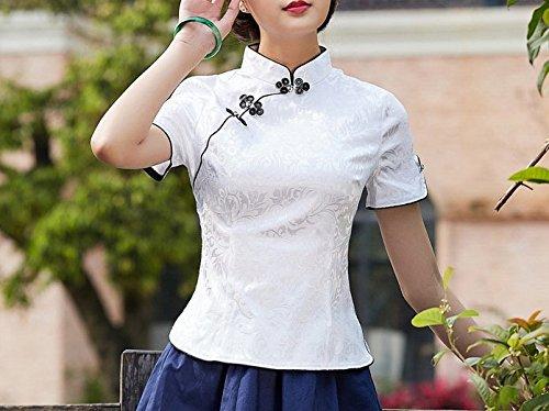 ACVIP Camicia Donna Floreale a Maniche Corte,3 Colori Bianco