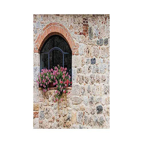 Liumiang Eco-Friendly Manual Custom Garden Flag Demonstration Flag Game Flag,Tuscan,Gothic Architecture Abandoned Old Stone House Vintage Stairs in Tuscany,Ivory Pink and Salmone décor -