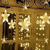 LED Lichterketten, 80 Sterne 144 LEDs 2mx1.5m Anschließbar Sternenvorhang mit 8 Modi Fernbedienung fensterlichterketten weihnachten Weihnachtsbeleuchtung für Fenster Dekorat [Energieklasse A+]