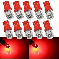 Grandview 10pcs T10 501 Bombilla LED 24V T10 Super Brillante W5W 194 165 Rojo 5-SMD 5050 LED Interior del Automóvil, Tablero de Instrumentos, Placa de Matrícula, Luces Laterales de Arranque Bombillas