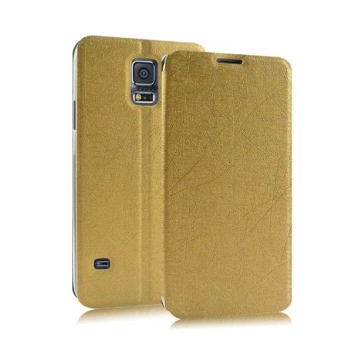 Heartly Premium Luxury PU Leather Flip Stand Back Case Cover For Samsung Galaxy S5 Mini - Hot Gold  available at amazon for Rs.399