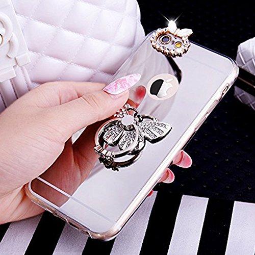 Paillette Coque pour iPhone 6/6S,iPhone 6S Coque Silicone Étui Ultra Mince Housse, iPhone 6 Souple Coque Etui en Silicone, iPhone 6/6S Silicone Case Soft TPU Cover, Ukayfe Etui de Protection Cas en ca Papillon-Argen
