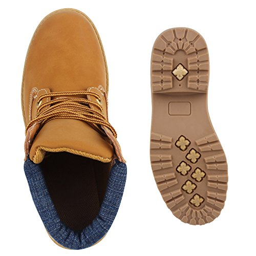 UNISEX Damen Herren Worker Boots Profil Sohle Stiefeletten Outdoor Schuhe Hellbraun Blau