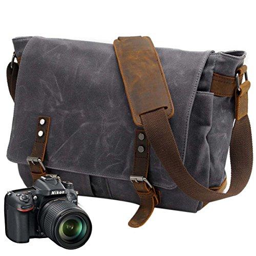 Neuleben Kameratasche wasserdichtes und abnehmbares Kamerafach für DLSR Umhängetasche Laptoptasche für 14´´ Vintage Damen Herren (Grau + Kamerafach)