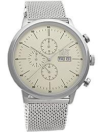 Davis 1950MB - Montre Sport Homme Classique Retro Chronographe Etanche 50M Cadran Champagne Jour Date Bracelet Mesh Maille Milanaise