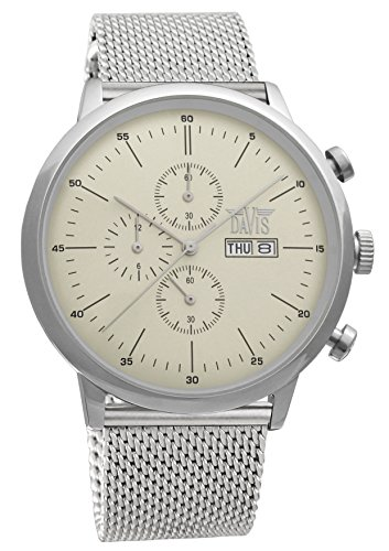 Davis 1950MB - Mens Sport Watch Classic Retro Chronograph Waterresist 50M Beige Dial Day Date Mesh Milanese Strap