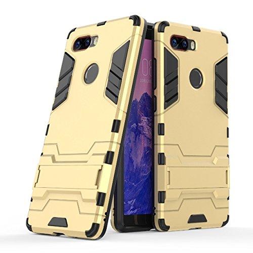 Happy-L Hülle für ZTE Nubia Z17S, Dual Layer Armor Defender Shockproof Hard Case mit Ständer (Farbe : Gold)