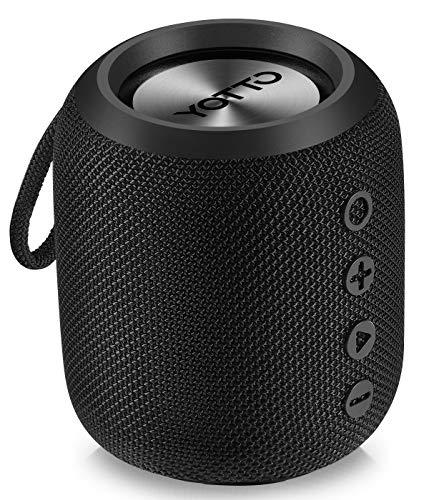 YOTTO Tragbarer Bluetooth 4.2 Kabelloser Lautsprecher IPX6 Wasserdicht Starkem Bass, 12W HiFi Stereo Sound, TWS, Eingebautes Mikrofon, Freisprecheinrichtung, FM Radio, TF Kartensteckplatz, Outdoor