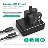 RAVPower Hero 5 Battery 2 Pack Camera Batteries and Dual Slot USB Charger Set For For Gopro Hero 5 Black/Hero 6 Black
