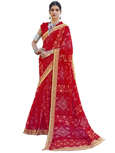 Vastrang Sarees Women's Georgette Saree With Blouse Piece (Chn32426_Red)