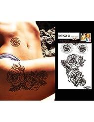 TATTOO ID XXL ROSES tatouage grand format ephemere temporaire hypoallergénique Fabriqué en FRANCE 1 planches 22cm x 14,5cm Homme Femme