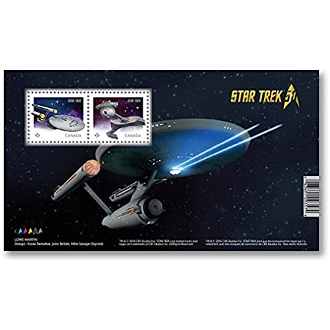 Star Trek 50th Anniversary - Souvenir Sheet of 2 (U.S.S. Enterprise and Klingon battle cruiser) Collectible Postage Stamps Canada by Canada Post