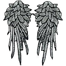 Cdet Ala lentejuelas parche tela bordado pegatinas vestido bordado calcomanías ropa accesorios subsidios