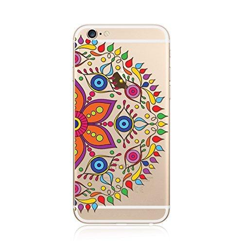 Coque iPhone 6 6s Housse étui-Case Transparent Liquid Crystal en TPU Silicone Clair,Protection Ultra Mince Premium,Coque Prime pour iPhone 6 6s-Mandala-New-style 23 24