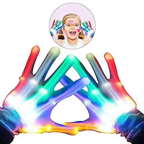 WISHBB LED Handschuhe Kinder, LED Beleuchtung Handschuhe,Spielzeug für 6-11 Jahre Alten Jungen, LED-Handschuh für Clubs, Raves, Festivals, Halloween, Bonfire Night, Party, Spiele (Mehrfarbig 1)