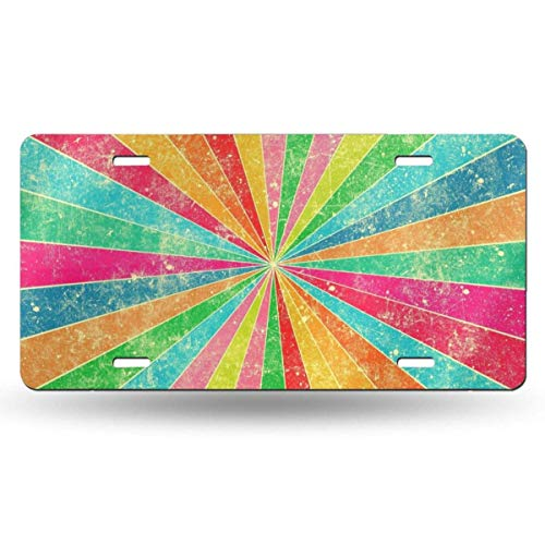 Ganheuze Radial Multiple Colors Personality Aluminum Colorful License Plate Decorative Metal Card 6
