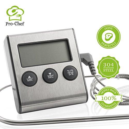 Digital Grillthermometer für Gasgrill und Ofen von Edelstahl mit Langes Kabel. Profi Bratenthermometer für Fleisch mit Hitze und Zeit Alarm. 100% Geld-zurück-Garantie. Von Pro-Chef®