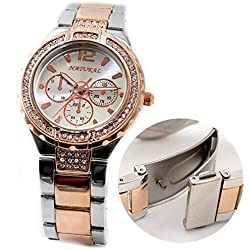 10FW836E Natural Rose Gold and PNP Band Water Resist White Dial Women Bracelet Watch