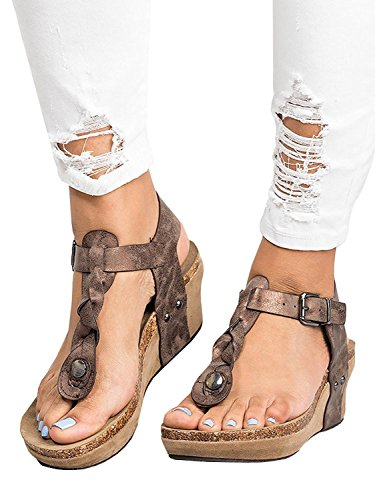 Minetom sandali donna con zeppa estive elegant scarpe donna estive eleganti scarpe donna tacco medio sandali gioiello donna-scarpe tacco alto donna tacchi alti con zeppa a marrone eu 40