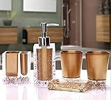 AMS Luxury Acryl WC Bad Set Badset Garnitur / 5-teilig/ Seifenspender/ Zahnbürstenhalter/ Zahnputzbecher, Gold