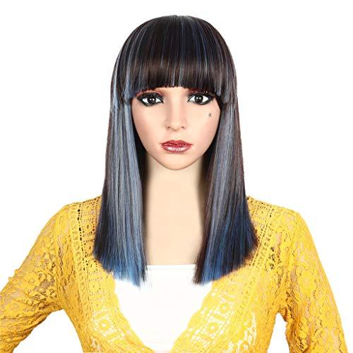 Pleine Perruque Cheveux Naturels Mode Synthétique Courte Teinture Droit BOB Mix Couleur 40CM portugal Femme 2019 (Multicolor)