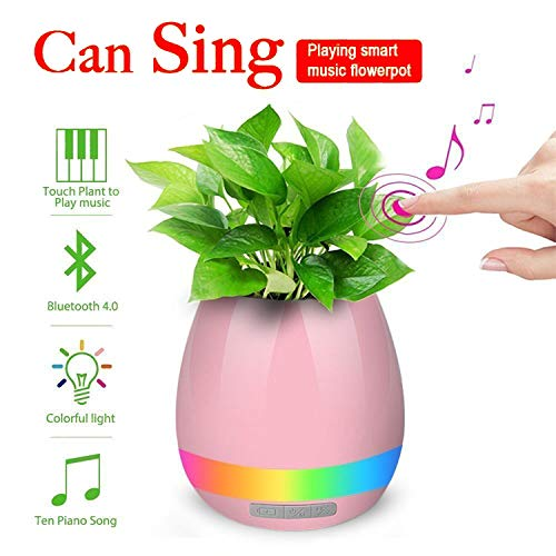 SR Global Music Flowerpot,Smart Plant pots,Touch Music Plant Lamp with Rechargeable Wireless Bluetooth Speaker and LED Night Light Model 164708