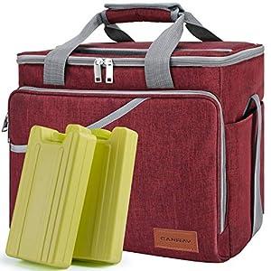 Canway Faltbar Thermotasche Kühltasche Eistasche Picknicktaschen Cooler bag 40-Dosen Große Isoliertasche mit 2 Eisdosen…