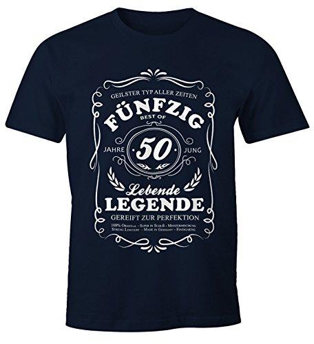 50 T-shirts (MoonWorks Lebende Legende Herren T-Shirt Geschenk 50. Ten Geburtstag Jahre Navy XL)