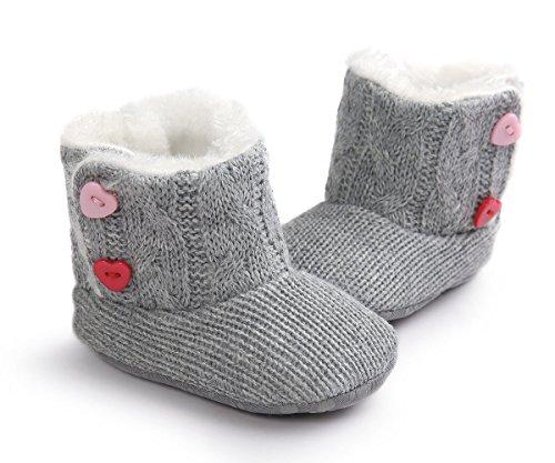 Butterme Baby Boys Girls Soft Sole Anti Slip Warme Winter Säugling Strickpelz Prewalker Schuhe Schneestiefel Socken mit Herz Button Crib 12-18 Monate (Button Baby Schuhe)
