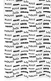 Duschvorhang Textil 180x200 cm mit Ringen Savon Waschbar in Weiß, Wannenvorhang mit Schwarzer Schrift französisch, Anti - Schimmel