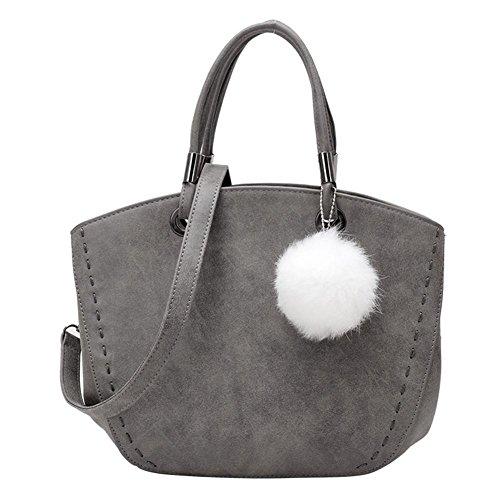 Mjhwsx Borsetta Vintage Hairball Decorato Nubuck spalla borsa Messenger Bag