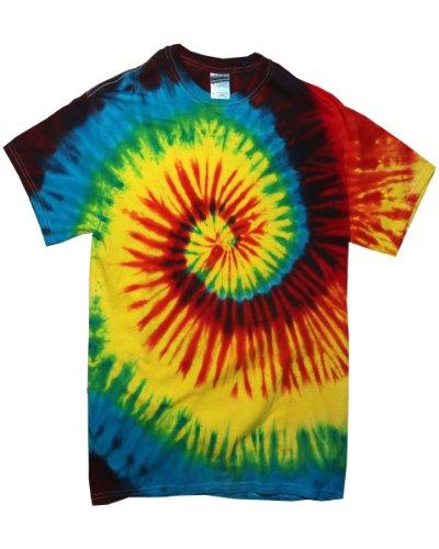 TDUK Herren T-Shirt in Batikoptik, Kurzarm (Medium) (Regenbogen) (Herren Tie Dye Klein)
