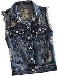 Jeansweste Damen Casual Fashion Zerrissen Ärmellos Jeansjacken Elegante  Casual Vest Vintage Distressed Denim Jacken Mädchen Mäntel… cba2ff0041