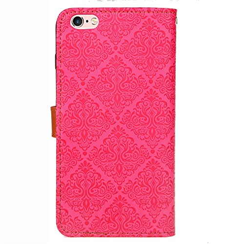 Custodia iPhone 6S plus Cover iPhone 6 plus,Ukayfe Flip Cover Wallet Case Custodia per iPhone 6S plus in pelle PU,iPhone 6 plus Lussuosa Astuccio Custodia Cover [PU Leather] [Shock-Absorption] Protett Murale Rosa caldo