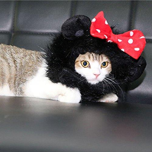 Imagen de ueetek peluca de melena de león traje de mascota para perro gato disfraces con orejas negro  alternativa