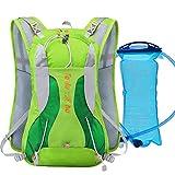 ZSBB Wanderrucksack Sommer Running-Rucksack, Langlauf-Wandern, Schultertasche, Männer Wasserdichte weibliche Marathon-Ausrüstung, grüne Qualität Wasserbeutel, 15 Liter