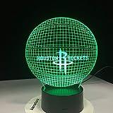 Houston Rockets Acryl Lampe Basketball 3D Led Nachtlicht Neuheit Geschenke 7 Farben Ändern Schreibtisch Tischlampe