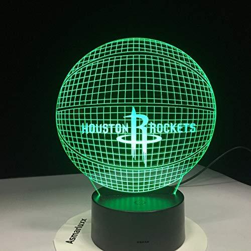 Houston Rockets Acryl Lampe Basketball 3D Led Nachtlicht Neuheit Geschenke 7 Farben Ändern Schreibtisch Tischlampe -