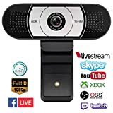 Webcam HD 1080P Computer Camera HDR H.264 with Auto Focus, Fold-and-Go Design, 360-Degree