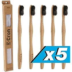 5 x Cepillo de dientes de bambú E-Cron con un mango respetuoso con el medio ambiente (Negro), 100 % ecológico y biodegradable. Su cuidado dental natural con el toque cálido y limpio del bambú.