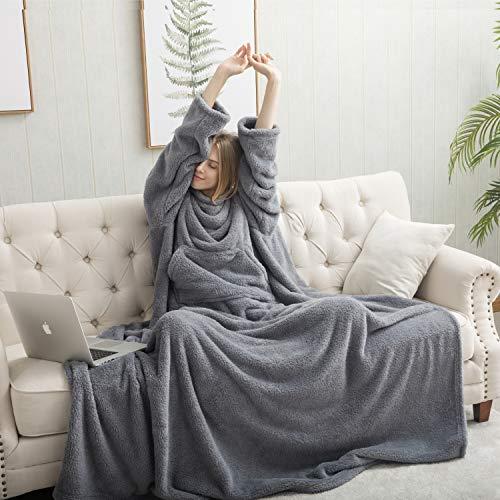 Bedsure Ärmeldecke Kuscheldecke mit Ärmeln Erwachsene, Anziehdecke 170x200 cm TV Decke Blanket Sweatshirt Decke Pullover tragbare Decke Erwachsene, ganzkörperdecke mit ärmeln Damen Ärmel Decke
