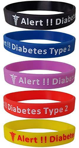 "Imagen de pulseras de silicona, 5unidades, diseño con texto en inglés ""diabetes type 2"""