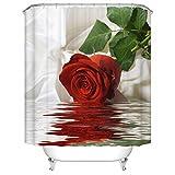 Duschvorhang Wasserdicht Textil Shower Curtain Mehltau Waschbar Badezimmer Vorhang Anti-bakteriell Badewannenvorhang mit Motiv Rot Rosen Polyester 180cm x 200