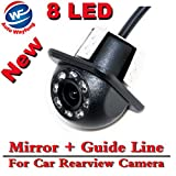 Auto Wayfeng 8 LED HD CCD coche cámara de visión trasera Night Vision Gran angular coche cámara de visión trasera coche de reversión de copia de seguridad para la cámara de monitor de aparcamiento