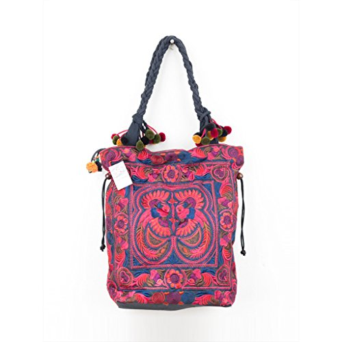 0d46dec243b Changnoi Fair Trade Pom Pom Shoulder Bag Tote Hmong Embroidered Fabric in  Red