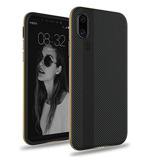 iPhone X Hülle, HICASER Luxus Carbon Fiber [stoßdämpfende] TPU Case + Flexible PC Bumper Frame Handytasche Schutzhülle für iPhone X Grau Gold