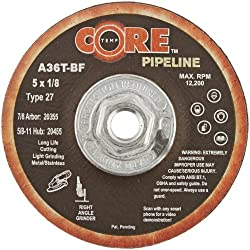 CoreTemp 20455 Type 27 A36T Abrasive Cutting/Light Grinding Pipeline Wheel Aluminum Oxide 12200 RPM 5 Diameter x 1/8 Width 5/8 -11 Arbor (Pack of 12)
