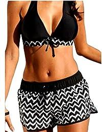 Femme/Fille Bikini Grande Taille Maillots De Bain Rembourré Deux Pièces Rayures Shorty Push-up Swimwear Beachwear Plage