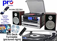 USB & CD Recording Music Centre, Nostalgic Retro HiFi 8 in 1 - Vinyl Record Player, Cassette Tape, CD Player, FM / MW (AM) Radio, AUX IN, Metropolis Value Pack 1 INC